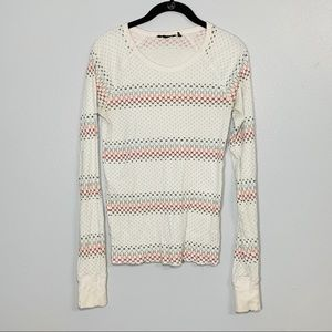 Hurley White Thermal Shirt with Multicolor H Logo